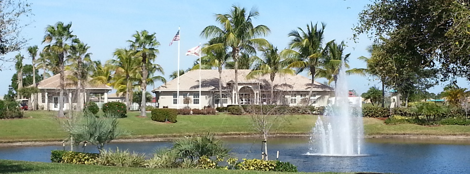 HOA Club House and Gym from across Retention Pond